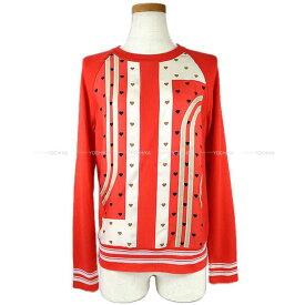 """エルメス レディース ツイルレーヌ シルクニット """"ブリッドドゥガラ ラヴ"""" ハート柄 ルージュ #34 カシミア50%/シルク50% 新品未使用 (HERMES Lady's Twill Laine Silk Knit """"Brides de Gala Love"""" Heart Rouge Cashmere50%/Silk50% #34)【あす楽対応】#よちか"""