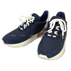 """【 キャッシュレスポイント還元★】2016年 HERMES エルメス メンズ レースアップ スニーカー """"Miles マイルス"""" マリンX白(ホワイト) トワルテクニックXカーフXシェーブルヴェロア #41 新品同様【中古】 ([Pre-loved]Sneaker for Men Lace up """"Miles"""" Marine/Blanc(White))"""