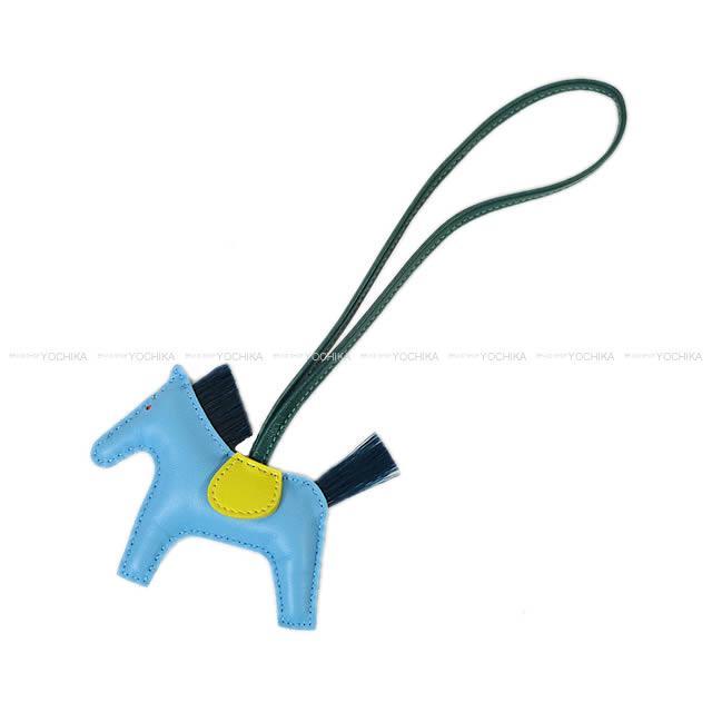"""【ご褒美に★】HERMES エルメス バッグチャーム """"ロデオ/RODEO"""" PM セレステXライムXマラカイト アニューミロ(ラム)Xクリノラン 新品(HERMES bag charm """"Rodeo"""" PM Celeste/Lime/Malachite Agneau Milo[Brand new][Authentic])【あす楽対応】#yochika"""