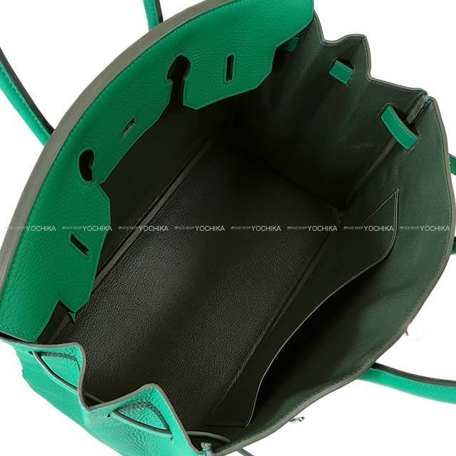 【値下げ!】2017年秋冬 HERMES エルメス ハンドバッグ バーキン35 ヴェルソ ヴェールヴェルティゴXヴェールフォンセ トリヨン シルバー金具 新品 (2017AW NEW Handbag Birkin35 Verso Vert Vertigo/Vert Fonce Taurillon Clemence)【あす楽対応】#よちか