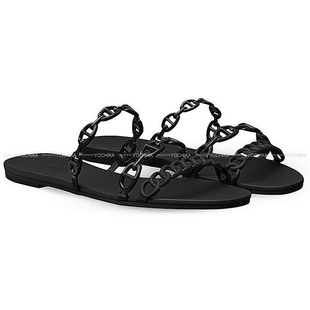 """2018春夏 新作 HERMES エルメス レディース ビーチサンダル """"Rivage リヴァージュ"""" シェーヌダンクル #37 黒 ラバー 新品 (2018SS New HERMES Lady's Sandals """"Rivage"""" Chaine d'ancre #37 Black Rubber[Brand New][Authentic])【あす楽対応】#よちか"""
