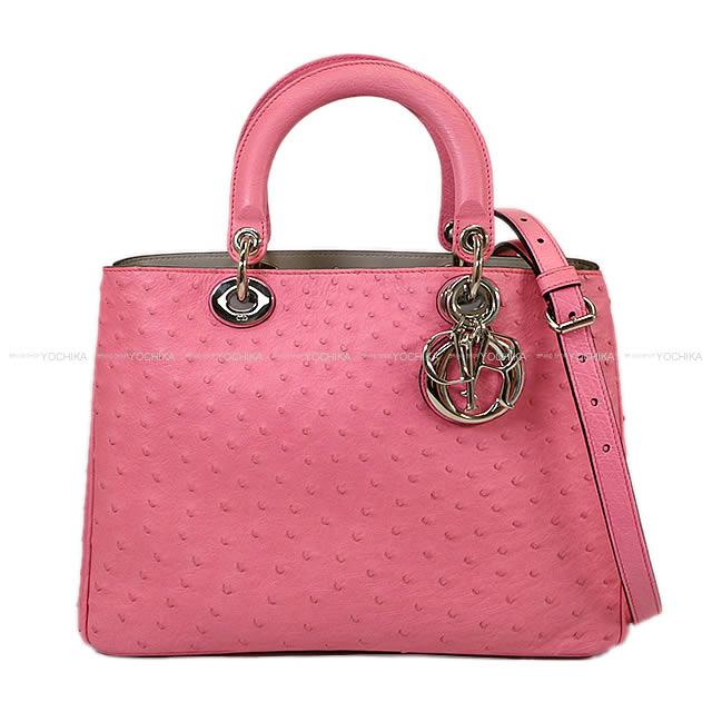 "Christian Dior ディオール 2way ショルダー バッグ ""ディオリッシモ ラージ"" ピンクXグレー オーストリッチ 09MA0142 新品同様【中古】 (Christian Dior 2way Shoulder bag ""Diorissimo Large"" Pink/Gray Ostrich 09MA0142[Near mint][Authentic])【あす楽対応】#よちか"