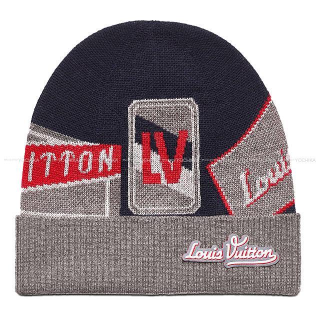 """【ご褒美に★】LOUIS VUITTON ルイ・ヴィトン ニット帽 """"ボネ・トラベルスタンプス"""" ルージュXネイビーXグレー ウール100% M70728 新品 (LOUIS VUITTON Knit Cap """"TRAVEL STAMPS HAT"""" Rouge/Navy/Gray Wool100% M70728[Brand New][Authentic])【あす楽対応】#よちか"""