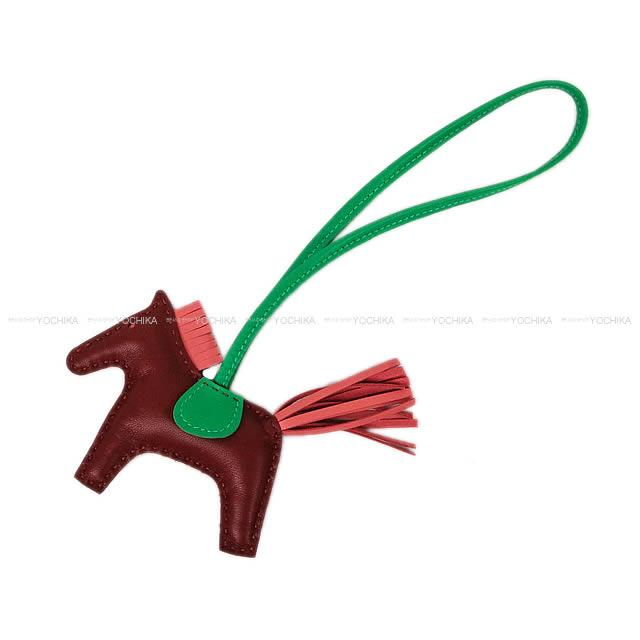 """【クリスマスプレゼントに♪】HERMES エルメス バッグチャーム """"ロデオ/RODEO"""" PM ルージュアッシュXローズアザレXミント アニューミロ(ラム) 新品 (bag charm """"Rodeo"""" PM Rouge H/Rose Azalee/Menthe)【あす楽対応】#よちか"""