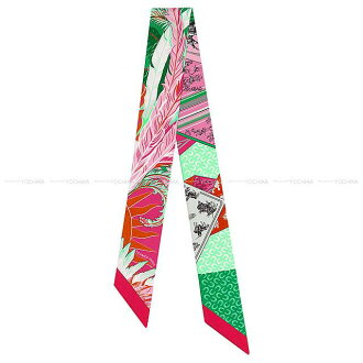 """HERMES エルメスツイリースカーフ """"Cheval Phoenix"""" fuchsia X veil X Rose new article (2018SS NEW Twilly Scarf """"Cheval Phoenix"""" Fuchsia/Vert/Rose)# よちか in the spring and summer latest 2018"""