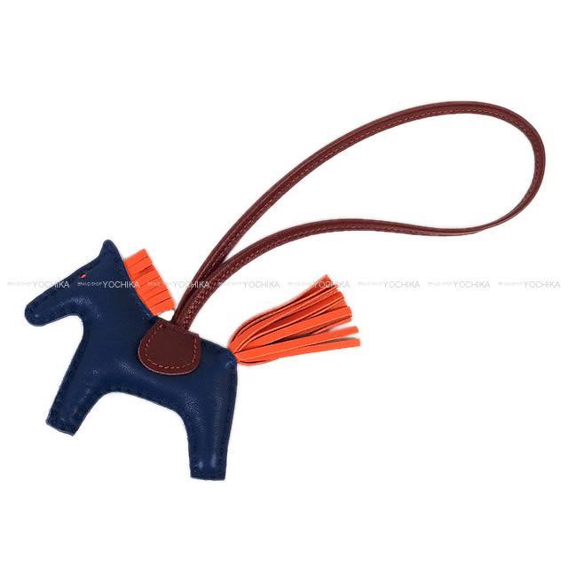"""【ご褒美に★】HERMES エルメス バッグチャーム """"ロデオ/RODEO"""" PM ブルーマルテXオレンジポピーXルージュアッシュ アニューミロ(ラム) 新品 (HERMES bag charm """"Rodeo"""" PM Bleu de Malte/Orange poppy/Rouge H Agneau Milo[Brand new][Authentic])【あす楽対応】#よちか"""