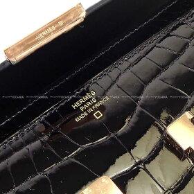 【ご褒美に★】HERMESエルメス長財布コンスタンスロング黒クロコダイルアリゲーターローズゴールド金具新品(HERMESConstanceLongWalletBlack(Noir)CrocodileAlligatorRGHW[BrandNew][Authentic])【あす楽対応】#よちか