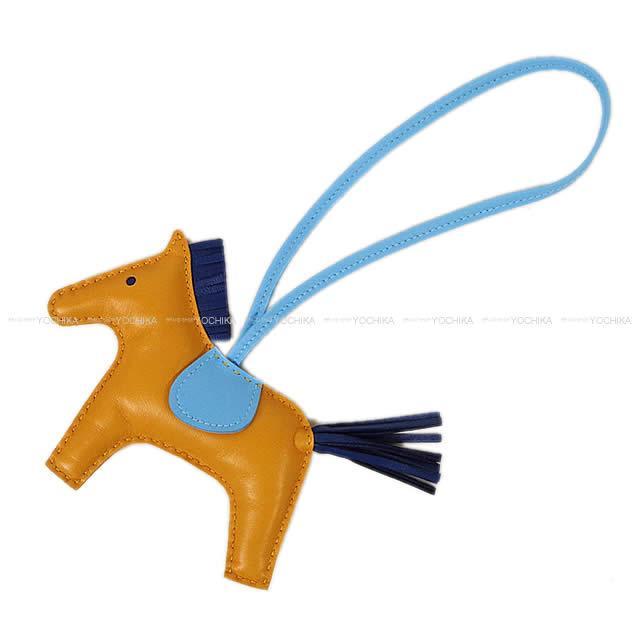 """【ご褒美に★】HERMES エルメス バッグチャーム """"ロデオ/RODEO"""" MM セレステXナチュラルサブレXブルーサフィール アニューミロ 新品 (HERMES Bag Charm """"Rodeo"""" MM Celeste/Naturel Sable/Bleu Saphir Agneau Milo[Brand new][Authentic])【あす楽対応】#よちか"""