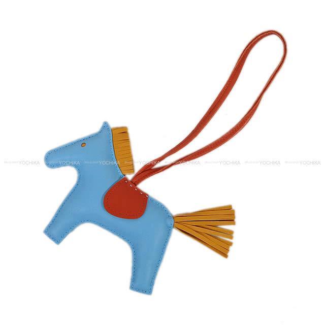 """【ご褒美に★】HERMES エルメス バッグチャーム """"ロデオ/RODEO"""" MM セレステXブトンドールXコーネリアン アニューミロ(ラム) A刻印 新品 (HERMES Bag Charm """"Rodeo"""" MM Celeste/Bouton d'or/Cornelian)"""