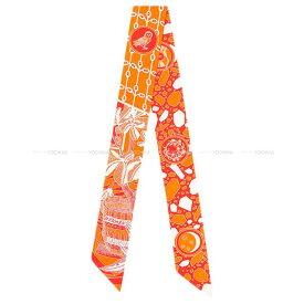 """【ご褒美に☆】HERMES エルメス ツイリー スカーフ """"アマゾンのダンス"""" オレンジXコーラルX白 シルク 新品 (HERMES Twilly Scarf """"La Danse des Amazones"""" Orange/Coral/Blanc(White) Silk[Brand New][Authentic])【あす楽対応】#よちか"""