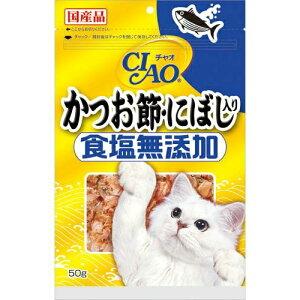 【送料込・まとめ買い×16個セット】いなば チャオ かつお節 にぼし入り 食塩無添加(50g)