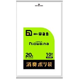 【送料込・まとめ買い×6個セット】日本サニパック SS20 ニオワイナ 消臭袋 白半透明 20L 10枚入