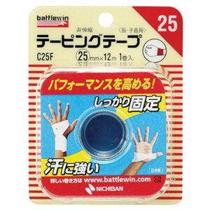 【送料込・まとめ買い×6個セット】ニチバン バトルウィン 非伸縮 テーピング テープ 指・手首用 C25F 25mm × 12m 1巻入