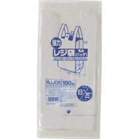【送料無料1000円 ポッキリ】ジャパックス 業務用強力 レジ袋 100枚入 ( 乳白色 ) RJJ-08×4個セット