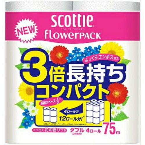 【送料無料・まとめ買い6個セット】日本製紙クレシア スコッティ フラワーパック 3倍長持ち 4ロール ダブル