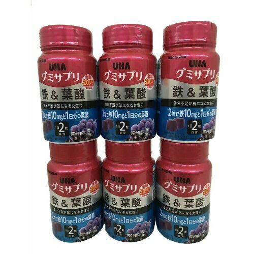【×6個セット送料無料】UHA味覚糖 グミサプリ 鉄&葉酸 ボトル 30日分 60粒 アサイーミックス味