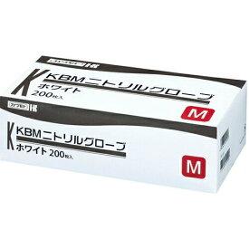【送料無料・まとめ買い×4個セット】川本産業 カワモト ニトリルグローブ ホワイト M 200枚入