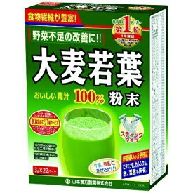 【送料無料×2個セット】山本漢方製薬 大麦若葉粉末100% 徳用 3g×22包