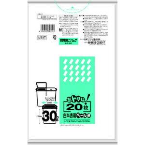 【送料無料・まとめ買い2個セット】室内ペール用 U39T オトクナ 30L 白半透明 室内ペール用 ゴミ袋 20枚