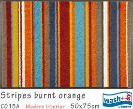 Stripes burnt orange 《C015A》50×75cm1枚クリーンテックス wash+dry丸洗い 吸水マット エントランス キッチン リビング 裏面ゴム 滑り止め 防炎 屋内 屋外 薄型 KLEEN-TEX ウォッシュアンドドライ 玄関マット