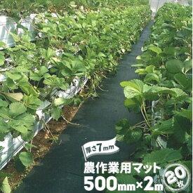 魚瀬ゴム 農作業用マット厚さ 7mm500mm×2000mm20枚農道マット 疲れ防止 ぬかるみ 温室通路 農道ゴムマット