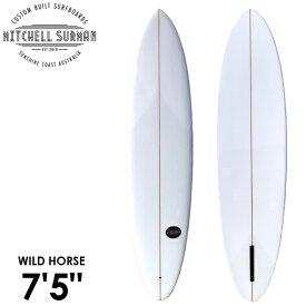 """MS SURFBOARDS エムエスサーフボード WILD HORSE NARROW 7'5"""" シングルフィン ミッドレングス クリアー"""