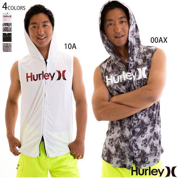 【20%OFF!SALE】Hurley ハーレー メンズ ノースリーブ ラッシュガード ジップアップ フード ロゴ UVカット RASH SLEEVELESS HOOD O&O ジム マリンスポーツに!