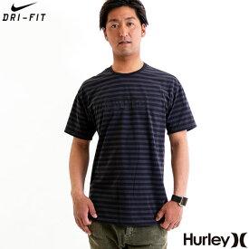 【値下げしました!】HURLEY 半袖 Tシャツ メンズ ボーダー ボックスロゴ NIKE Dri-FIT