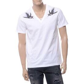 アレキサンダーマックイーン (Alexander McQueen) バードプリントVネック半袖Tシャツ ホワイト449492qiz2b0900 メンズ 送料無料 正規取扱