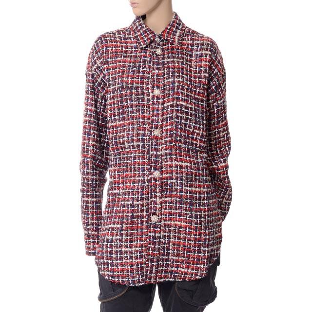 フェイスコネクション (Faith Connexion) ビジューボタンツイードチェックシャツ ツィード レッドx1819t00022r978 レディース秋冬 10,800円以上購入で送料無料 正規取扱