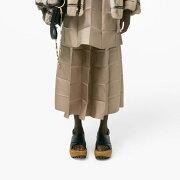 マルニ(Marni)縦横プリーツフレアースカートシルク混合サテンベージュ