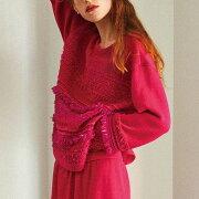 コーヘン(Coohem)サイドスリット丸襟セーターツィードミックスフクシアピンク
