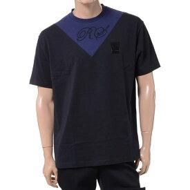 ラフシモンズフレッドペリー (Raf Simons Fred Perry) VインサートTシャツ コットン ブラックsm5135102 2019SS メンズ春夏新作 10,800円以上送料無料 正規取扱