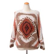 ブルネロクチネリ(BrunelloCucinelli)ローゲージ編み丸襟セーターミックスホワイト柄