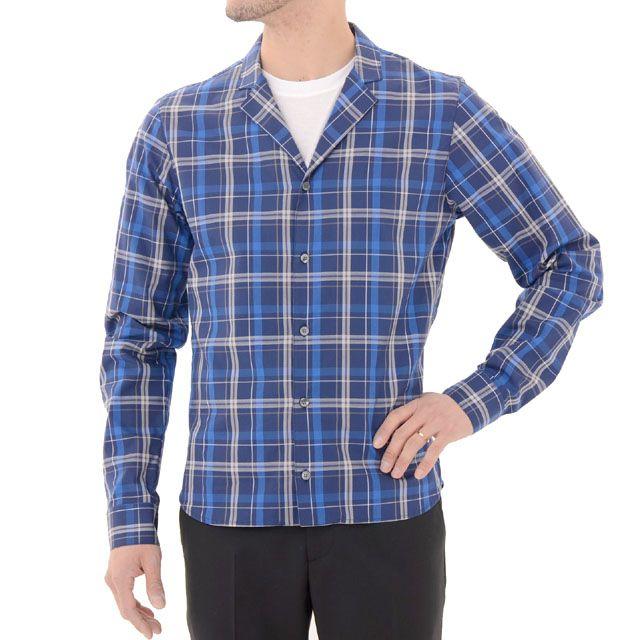 クリスヴァンアッシュ (kris van assche) ナローラペルチェックシャツ ブルー sh150kv26756 チェック柄, 送料無料 【正規取扱】
