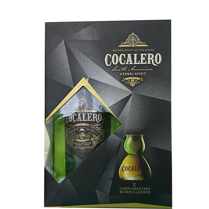 (送料無料)COCALERO コカレロ BOX (ボムグラス2個付き ) 29度 700ml  コカの葉 リキュール 17種のハーブ使用 コカレロ ボムグラス 2個付き