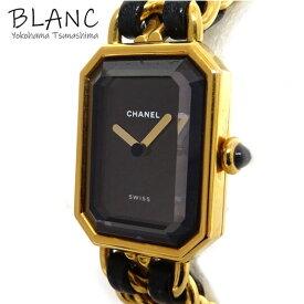 【中古】シャネル 腕時計 プルミエールM H0001 GP×レザー ブラック文字盤 ウォッチ QZ レディース CHANEL 横浜BLANC