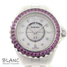 【中古】シャネル 腕時計 J12 H3243 29mm セラミック ステンレス ピンクサファイヤ ホワイトシェル 8Pダイヤ文字盤 横浜BLANC