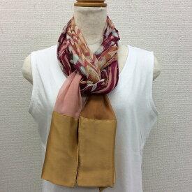 日本製シルク100%横浜スカーフ 職人技が光る逸品 横浜でプリントされたストール 対象アニマル柄 ピンク/ゴールド