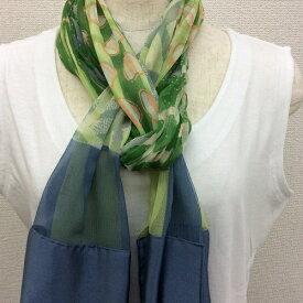 日本製シルク100%横浜スカーフ 職人技が光る逸品 横浜でプリントされたストール 対象アニマル柄 グリーン/ブルーグレー