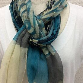 日本製シルク100%横浜スカーフ 職人技が光る逸品 横浜でプリントされたストール 対象アニマル柄 ブルー