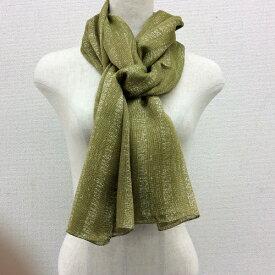 日本製横浜スカーフ シルク/コットンストール ゴースストライプ柄 グリーン