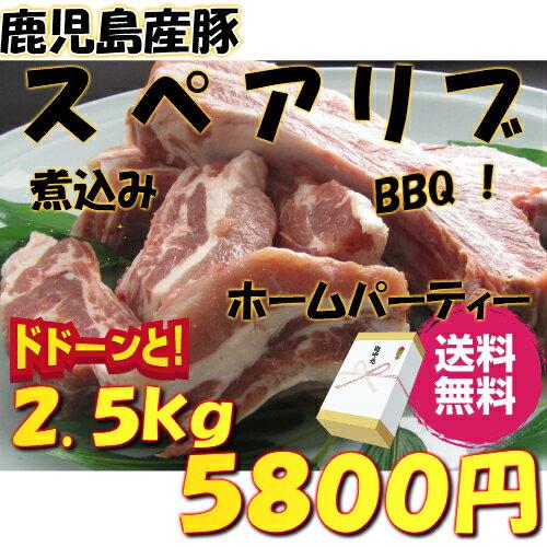 お中元【 国産 豚肉 鹿児島 】 豚 スペアリブ 2.5kg BBQ 煮込み 用《 送料込 》 骨付き ポーク スペアリブ バーベキュー バーベキューセット 父の日 夏休み 肉 祝 ギフト 景品 激安 セール 焼肉 訳あり ではございません
