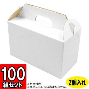 メロン箱 白つやあり【2個入れ】 100セット 【メロン用 メロンの箱 フルーツ用 フルーツギフト用 果物用 ギフトボックス 箱 メロン パッケージ フルーツ箱 果物箱 贈答用 化粧箱 青果 gift box