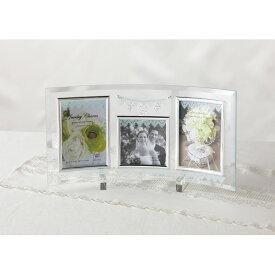 ジュエリーチャーム ガラスフォトフレーム 3窓 GF-03552 フォトフレーム 写真立て 卓上用 インテリア ギフト プレゼント 内祝 御祝 お返し 挨拶 出産 結婚