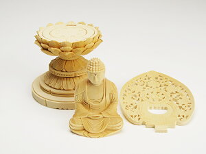 【仏像】座釈迦如来1.8寸(白木・丸台座)高さ17.1cm×幅8.6cm