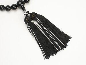 【京念珠】男性用(略式)数珠黒オニキス正絹頭付二色房