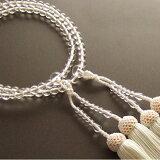 女性用二輪数珠本水晶丸玉・白色房