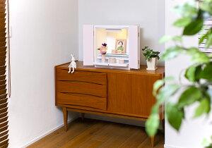 上置モダン仏壇kaoru香15号(高さ45×幅42×奥行28cm)ピンク/ブルー/ホワイト