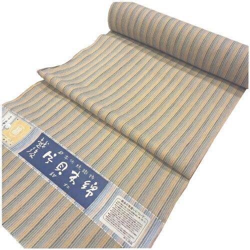 日本伝統織物越後「片貝木綿」縞柄着尺反物